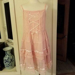 Dresses & Skirts - Pink & Gold Pinstripe Gyaru Lace Dress